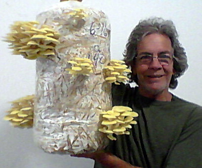 Hugh holding a Golden Oyster Mushroom Grow Kit